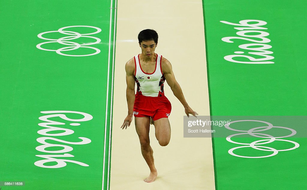Kenzo Shirai of Japan competes on the vault in the Artistic Gymnastics Men's Team qualification on Day 1 of the Rio 2016 Olympic Games at Rio Olympic...
