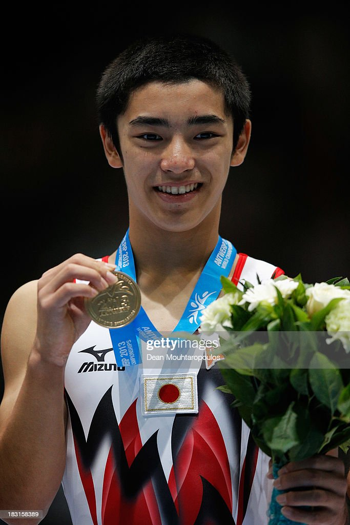 Kenzo Shirai of Japan poses after winning the gold medal in the Floor Exercise Final on Day Six of the Artistic Gymnastics World Championships...