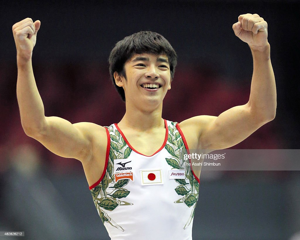 Kenzo Shirai of Japan reacts after competing in the Men's Floor apparatus final during day three of the 6th Aisan Artistic Gymnastics Championships...