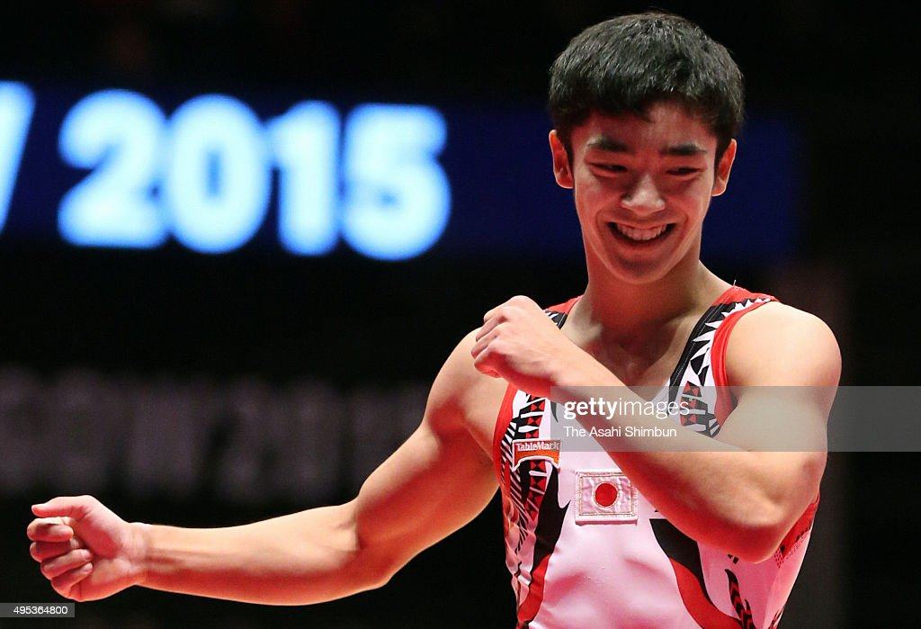 Kenzo Shirai of Japan reacts after competing in the Men's Floor final during day nine of the 2015 World Artistic Gymnastics Championships at The SSE...