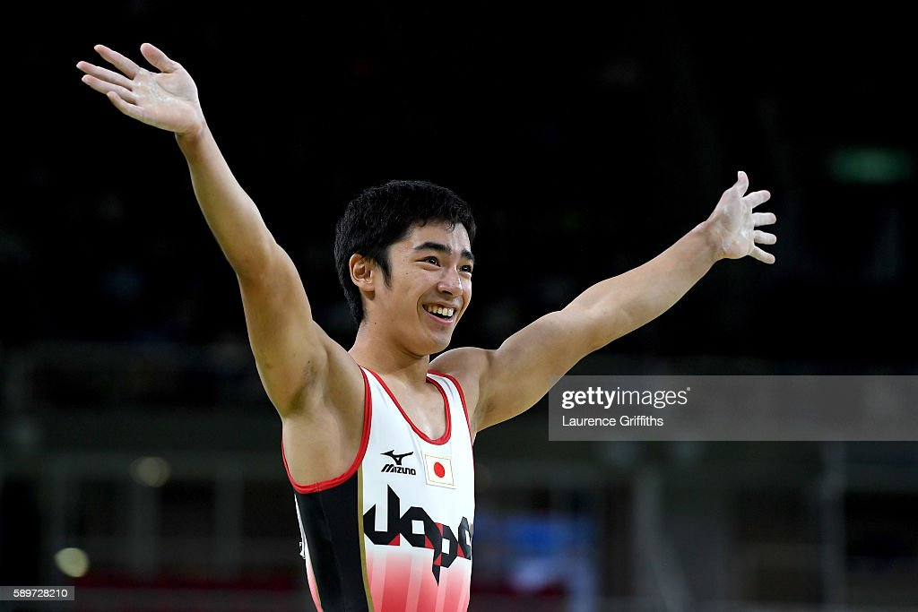 Kenzo Shirai of Japan waves after competing in the Men's Vault Final on day 10 of the Rio 2016 Olympic Games at Rio Olympic Arena on August 15 2016...
