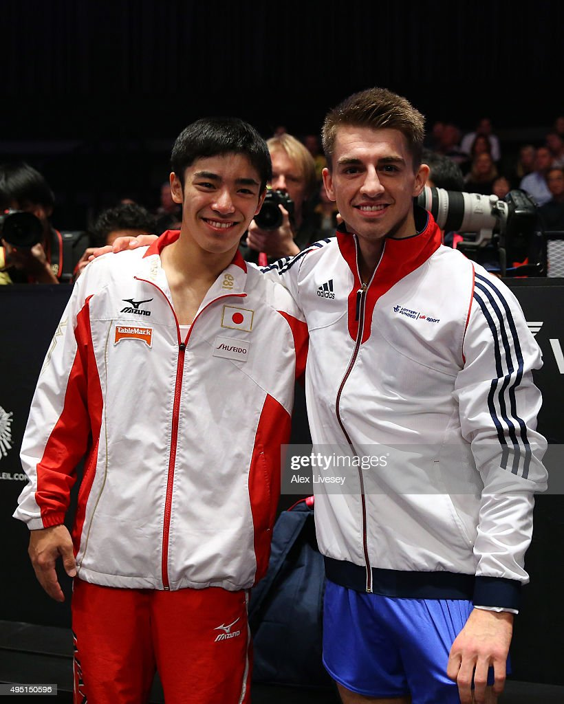 Kenzo Shirai of Japan wins Gold and Max Whitlock of Great Britain wins Silver in the Floor Final during day nine of the 2015 World Artistic...