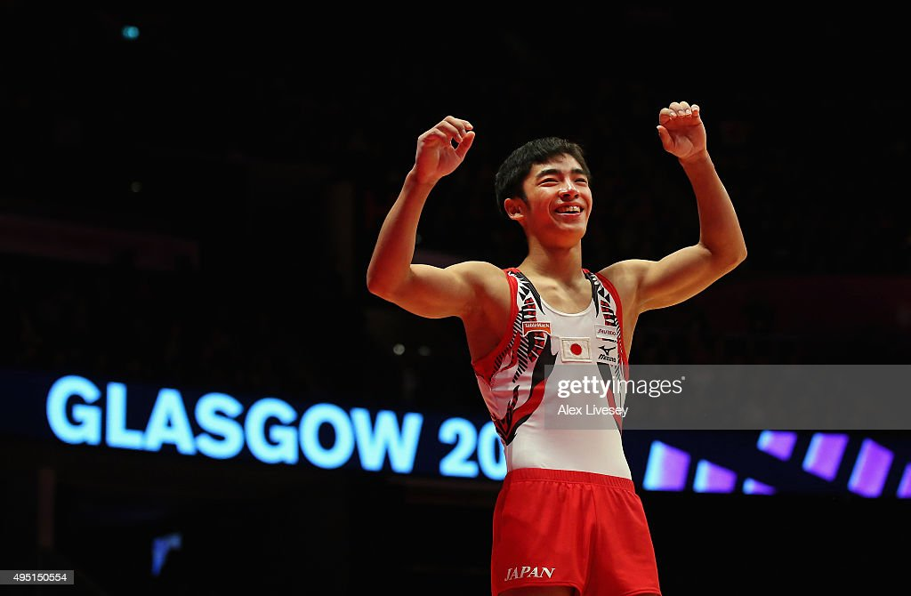 Kenzo Shirai of Japan wins Gold in the Floor Final during day nine of the 2015 World Artistic Gymnastics Championships at The SSE Hydro on October 31...