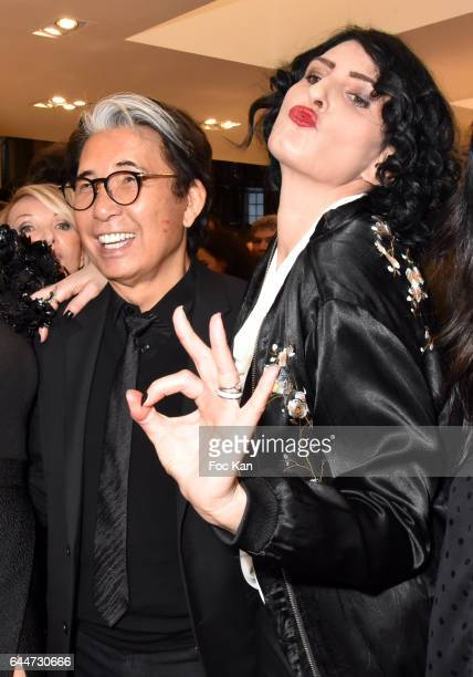 Kenzo Takada and Sylvie Ortegas Munos attend 'Facade16' Magazine Issue Launch at Colette on February 23 2017 in Paris France