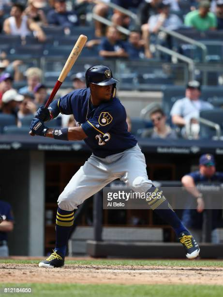 Keon Broxton of the Milwaukee Brewers bats against the New York Yankees during their game at Yankee Stadium on July 8 2017 in the Bronx borough of...