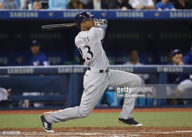 Keon Broxton of the Milwaukee Brewers bats in the ninth inning during MLB game action against the Toronto Blue Jays at Rogers Centre on April 12 2017...
