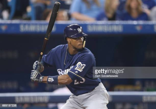 Keon Broxton of the Milwaukee Brewers bats in the seventh inning during MLB game action against the Toronto Blue Jays at Rogers Centre on April 11...
