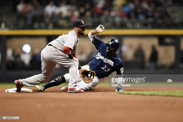 Keon Broxton of the Milwaukee Brewers beats a tag at second base by Dustin Pedroia of the Boston Red Sox during the fourth inning of a game at Miller...