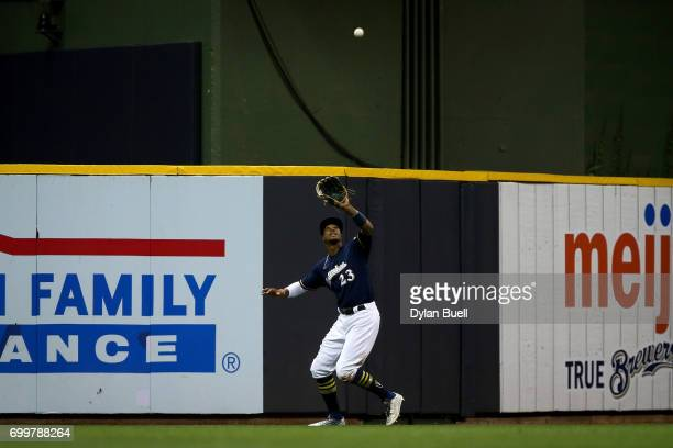 Keon Broxton of the Milwaukee Brewers catches a fly ball in the eighth inning against the Pittsburgh Pirates at Miller Park on June 20 2017 in...