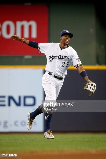 Keon Broxton of the Milwaukee Brewers celebrates after beating the Pittsburgh Pirates 42 at Miller Park on June 22 2017 in Milwaukee Wisconsin
