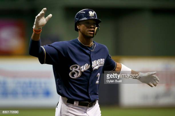 Keon Broxton of the Milwaukee Brewers celebrates after hitting a home run in the second inning against the Minnesota Twins at Miller Park on August...