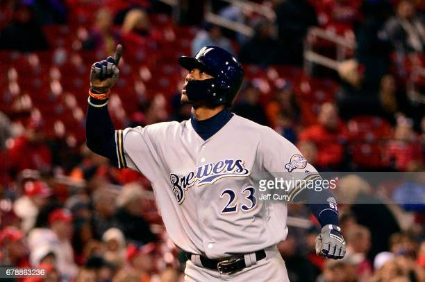 Keon Broxton of the Milwaukee Brewers celebrates after hitting a solo home run during the fifth inning against the St Louis Cardinals at Busch...