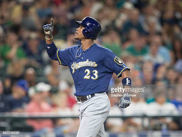 Keon Broxton of the Milwaukee Brewers celebrates hitting a solo home run off of starting pitcher Wade LeBlanc of the Seattle Mariners during the...