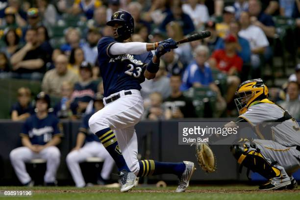 Keon Broxton of the Milwaukee Brewers hits a double in the sixth inning against the Pittsburgh Pirates at Miller Park on June 20 2017 in Milwaukee...