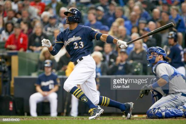 Keon Broxton of the Milwaukee Brewers hits a home run in the third inning against the Toronto Blue Jays at Miller Park on May 24 2017 in Milwaukee...