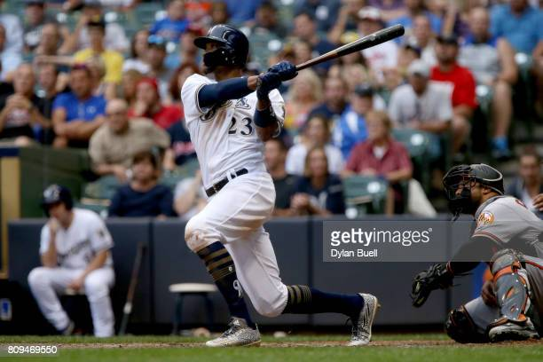 Keon Broxton of the Milwaukee Brewers hits a home run in the third inning against the Baltimore Orioles at Miller Park on July 5 2017 in Milwaukee...