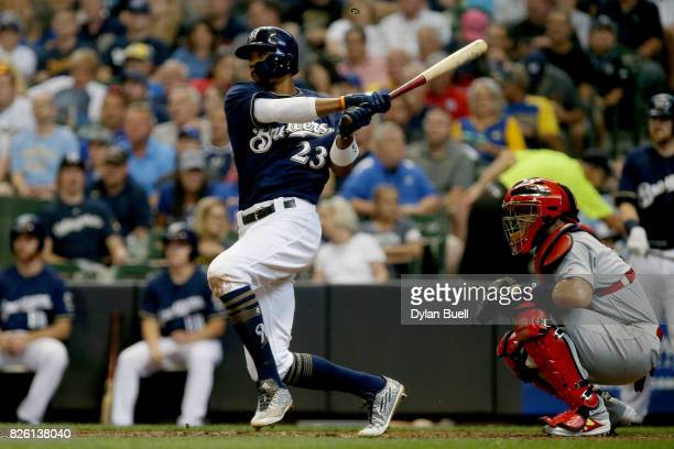 Keon Broxton of the Milwaukee Brewers hits a single in the fifth inning against the St Louis Cardinals at Miller Park on August 3 2017 in Milwaukee...