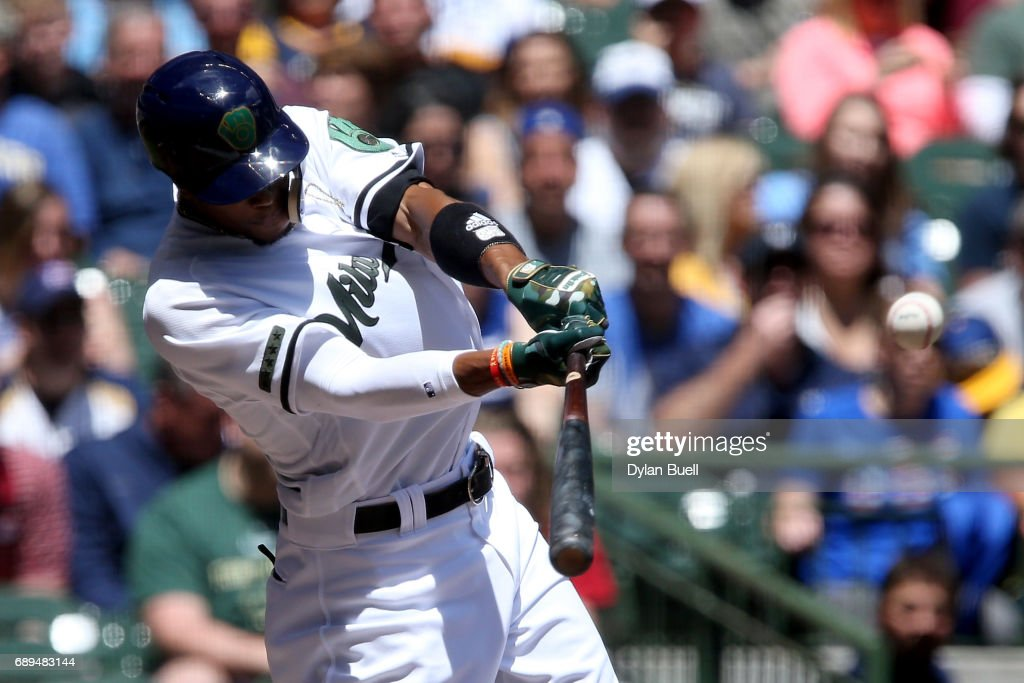Keon Broxton #23 of the Milwaukee Brewers hits a triple in the first inning against the Arizona Diamondbacks at Miller Park on May 28, 2017 in Milwaukee, Wisconsin.