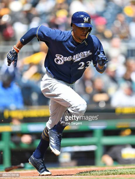 Keon Broxton of the Milwaukee Brewers in action during the game against the Pittsburgh Pirates at PNC Park on May 7 2017 in Pittsburgh Pennsylvania