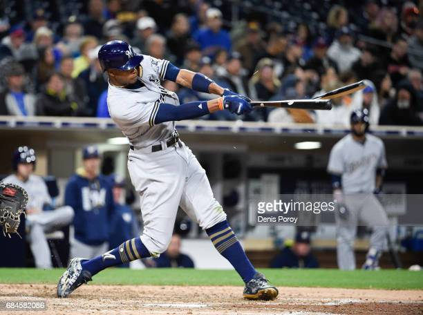 Keon Broxton of the Milwaukee Brewers plays during a baseball game against the San Diego Padres at PETCO Park on May 15 2017 in San Diego California