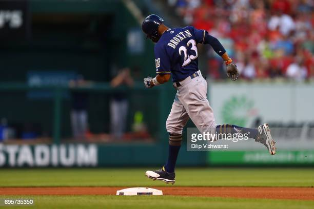 Keon Broxton of the Milwaukee Brewers rounds second base after hitting a solo home run at Busch Stadium on June 13 2017 in St Louis Missouri