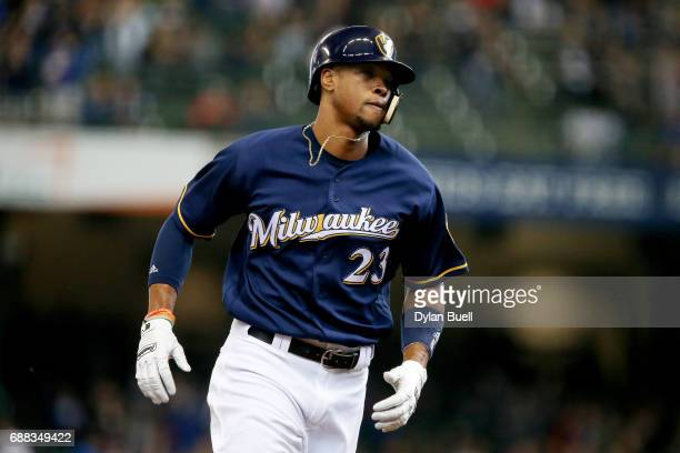 Keon Broxton of the Milwaukee Brewers rounds the bases after hitting a home run in the third inning against the Toronto Blue Jays at Miller Park on...