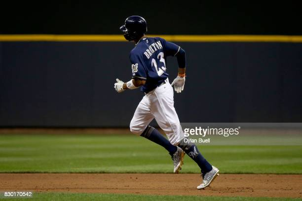 Keon Broxton of the Milwaukee Brewers rounds the bases after hitting a home run in the second inning against the Minnesota Twins at Miller Park on...