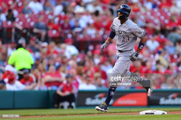 Keon Broxton of the Milwaukee Brewers rounds third base after hitting a tworun home run against the St Louis Cardinals in the second inning at Busch...
