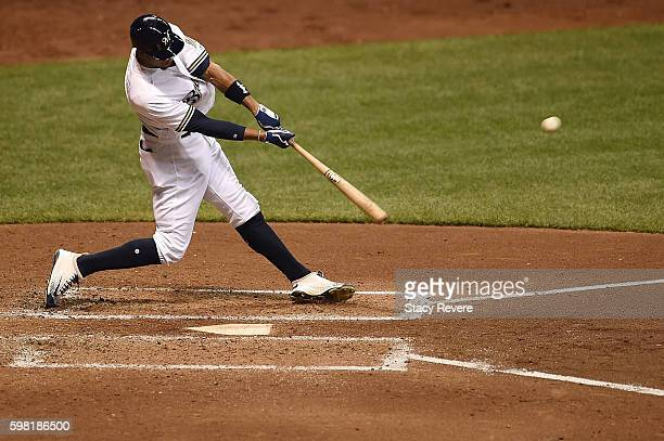 Keon Broxton of the Milwaukee Brewers swings at a pitch during the fourth inning of a game against the St Louis Cardinals at Miller Park on August 31...