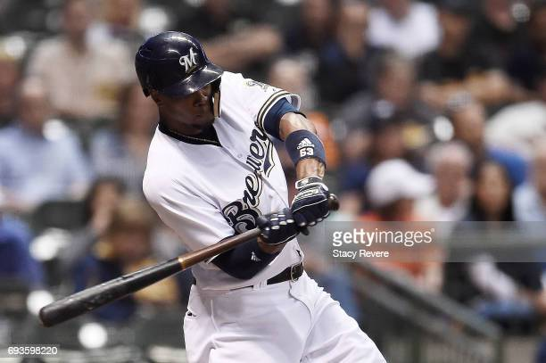 Keon Broxton of the Milwaukee Brewers swings at a pitch during the eighth inning of a game against the San Francisco Giants at Miller Park on June 7...