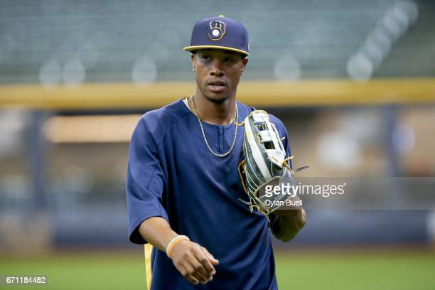 Keon Broxton of the Milwaukee Brewers walks across the field before the game against the St Louis Cardinals at Miller Park on April 20 2017 in...