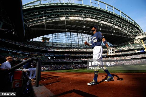 Keon Broxton of the Milwaukee Brewers walks to the dugout between inning during the game against the Washington Nationals at Miller Park on September...