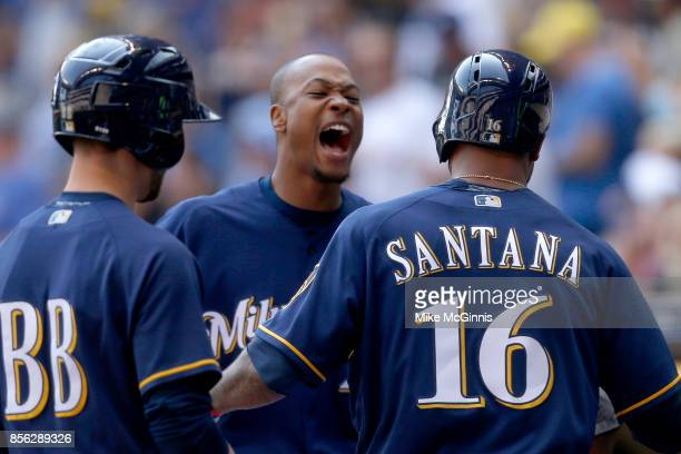 Keon Broxton of the Milwaukee Brewers yells outside the dugout during the game against the Washington Nationals at Miller Park on September 03 2017...