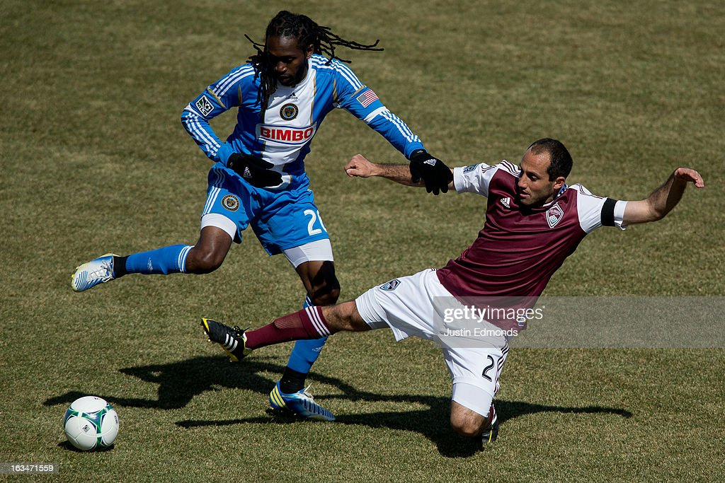 Keon Daniel #26 of the Philadelphia Union and Nick LaBrocca #2 of the Colorado Rapids battle for the ball during the second half at Dick's Sporting Goods Park on March 10, 2013 in Commerce City, Colorado. The Union defeated the Rapids 2-1.