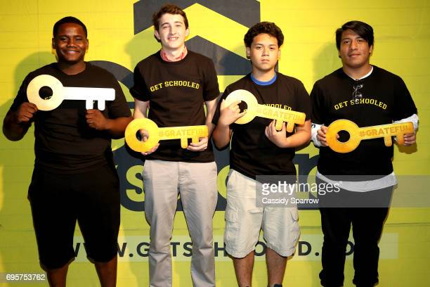 Keon Modeste John Barton Brandon Almadour and Jesse Merine attend a Get Schooled event at MTV in the Viacom Building on June 13 2017 in New York City