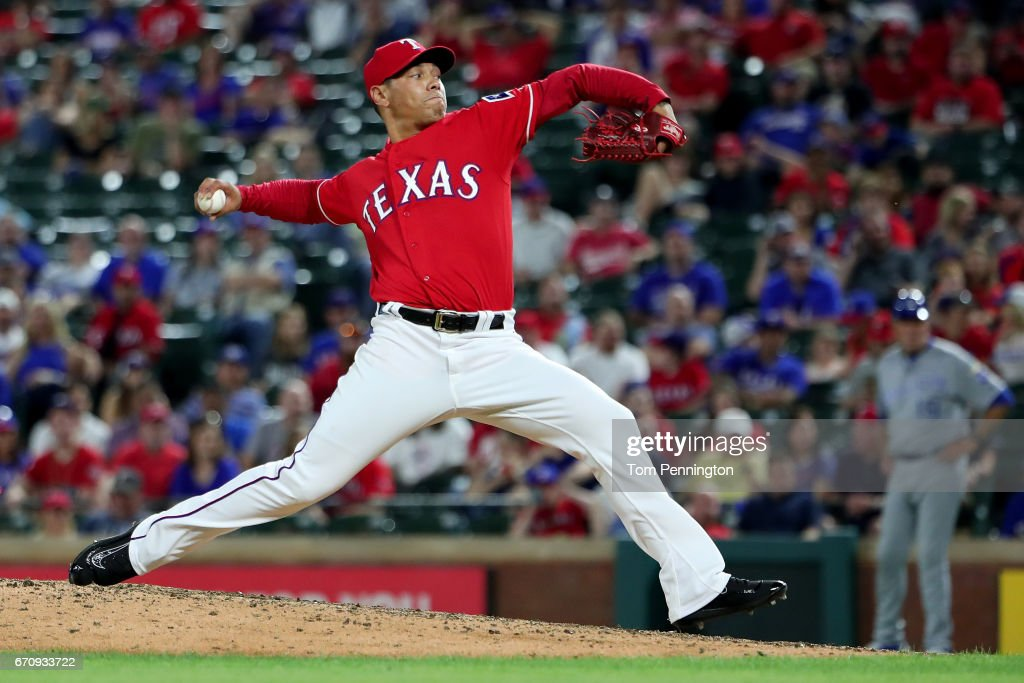Keone Kela #50 of the Texas Rangers pitches against the Kansas City Royals in the top of the 11th inning at Globe Life Park in Arlington on April 20, 2017 in Arlington, Texas.