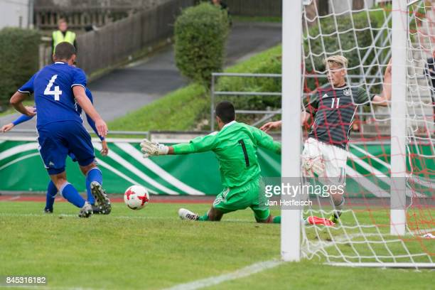 Keouf Shareef of Israel fights for the ball during the 'Four Nations Tournament' match between U17 Germany and U17 Israel on September 10 2017 in...