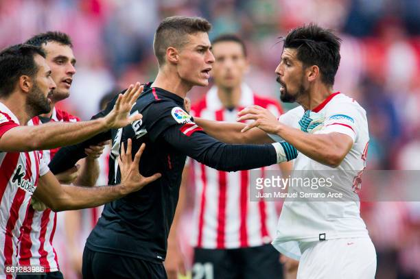 Kepa Arrizabalaga of Athletic Club argues with Manuel Agudo 'Nolito' of Sevilla FC during the La Liga match between Athletic Club Bilbao and Sevilla...
