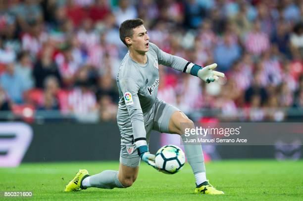 Kepa Arrizabalaga of Athletic Club controls the ball during the La Liga match between Athletic Club Bilbao and Atletico Madrid at San Mames Stadium...