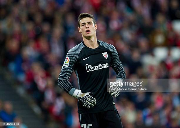 Kepa Arrizabalaga of Athletic Club reacts during the La Liga match between Athletic Club Bilbao and Villarreal CF at San Mames Stadium on November 20...