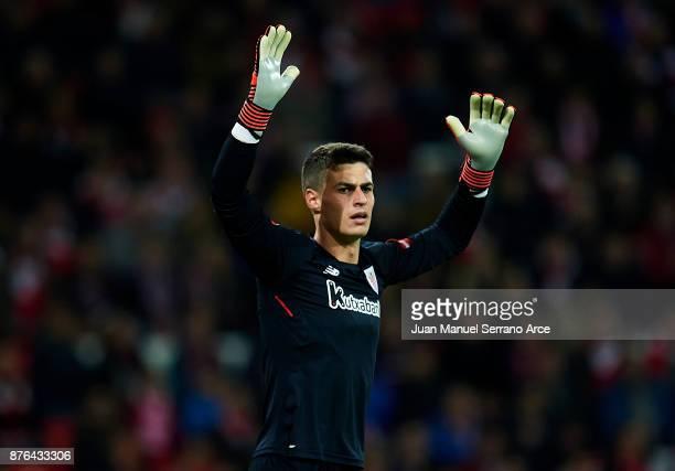 Kepa Arrizabalaga of Athletic Club reacts during the La Liga match between Athletic Club Bilbao and Villarreal CF at San Mames Stadium on November 19...