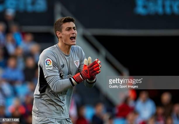 Kepa Arrizabalaga of Athletic de Bilbao reacts during the La Liga match between Celta de Vigo and Athletic Club at Balaidos Stadium on November 5...