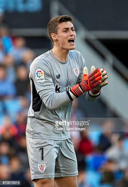 Kepa Arrizabalaga of Athletic de Bilbaor reacts during the La Liga match between Celta de Vigo and Athletic Club at Balaidos Stadium on November 5...