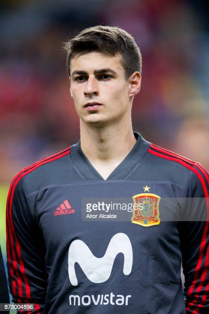 Kepa Arrizabalaga of Spain looks on prior to the start the international friendly match between Spain and Costa Rica at La Rosaleda Stadium on...