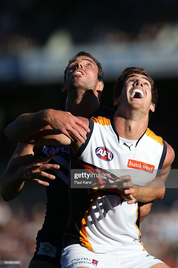 Kepler Bradley of the Dockers and Scott Lycett of the Eagles contest a boundary throw in during the round one AFL match between the Fremantle Dockers and the West Coast Eagles at Patersons Stadium on March 23, 2013 in Perth, Australia.