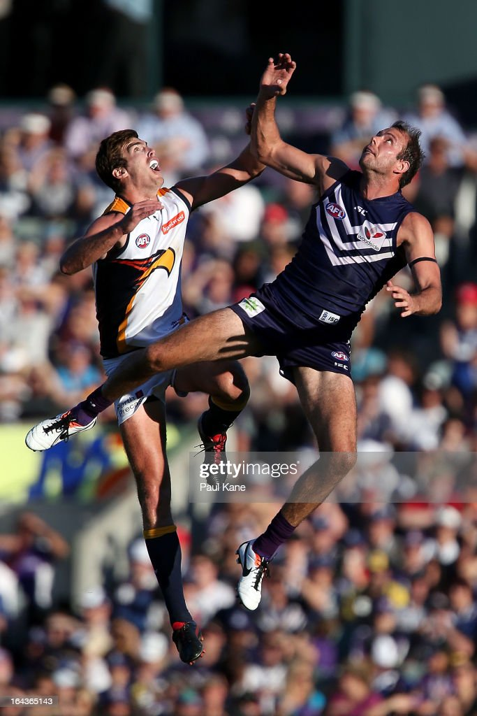 Kepler Bradley of the Dockers and Scott Lycett of the Eagles contest the ruck during the round one AFL match between the Fremantle Dockers and the West Coast Eagles at Patersons Stadium on March 23, 2013 in Perth, Australia.
