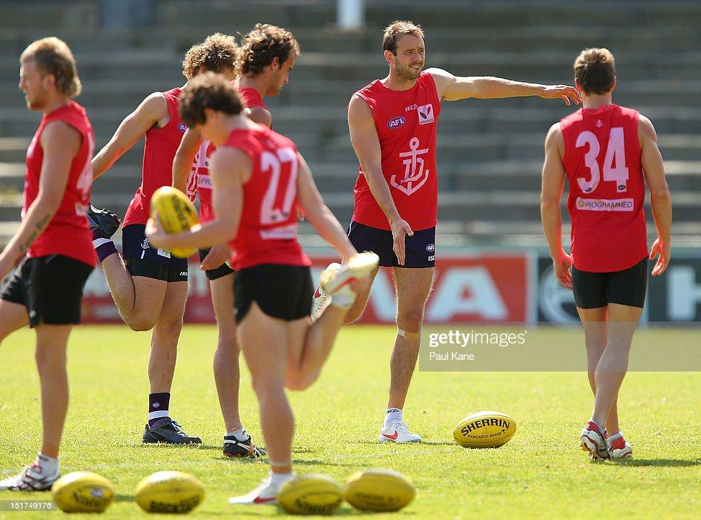 Kepler Bradley stretches during a Fremantle Dockers AFL training sessions at Fremantle Oval on September 11, 2012 in Fremantle, Australia.