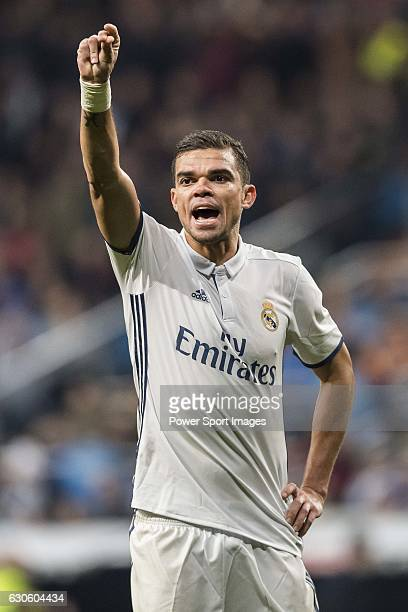 Kepler Laveran Lima Ferreira 'Pepe' of Real Madrid reacts during the La Liga match between Real Madrid and RC Deportivo La Coruna at the Santiago...