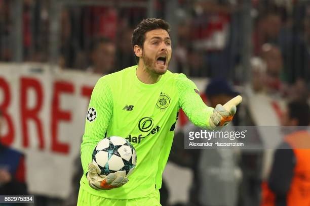 Kepper Craig Gordon of Celtic reacts during the UEFA Champions League group B match between Bayern Muenchen and Celtic FC at Allianz Arena on October...