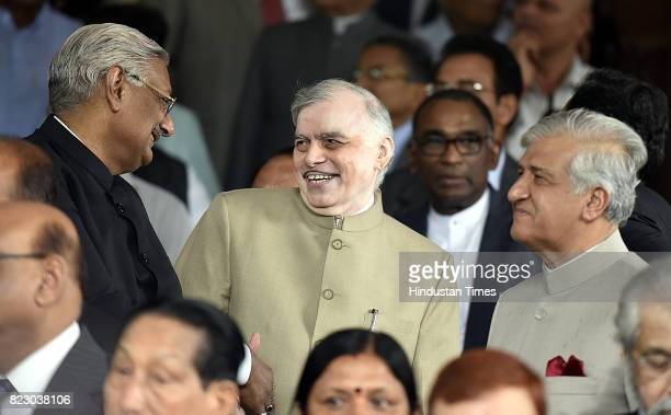 Kerala Governor P Sathasivam along with Krishan Kant Paul Governor of Indian state of Uttarakhand after swearing in ceremony of the new president Ram...